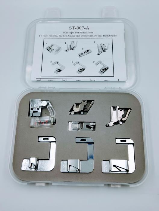 Набір лапок до швейних машин (равлики,окантовувач,адаптори)ST-007-A.